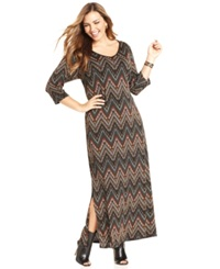 Ny Collection Plus Size Chevron Print Maxi Sweater Dress Gold Brown