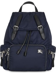 Burberry The Medium Rucksack In Puffer Nylon And Leather Blue