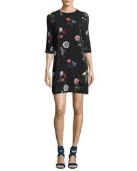 Equipment Aubrey Floral Print Silk 3 4 Sleeve Shift Dress Black Black Pattern