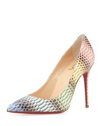 Christian Louboutin Decollete Snakeskin Red Sole Pump Blue Multi