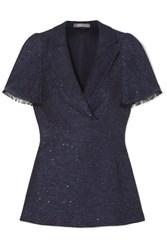 Lela Rose Frayed Sequin Embellished Tweed Peplum Top Navy