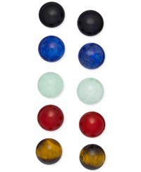 Macy's Semi Precious Stone 5 Pc. Set Stud Earrings In Sterling Silver Multi