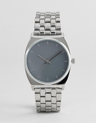 Asos Premium Embossed Marker Metal Boyfriend Watch Silver
