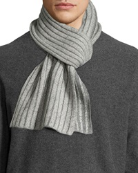 Portolano Men's Melange Two Tone Knit Scarf Ivory Light Gray