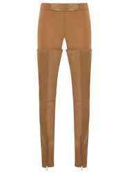 Gloria Coelho Leather Panels Trousers Brown