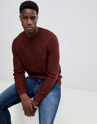 New Look Cable Knit Jumper In Rust Orange