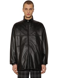 Balenciaga Logo Zip Up Leather Jacket Black