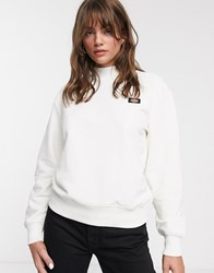 Dickies Relaxed High Neck Sweatshirt With Small Front Logo Cream