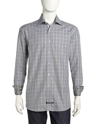 English Laundry Plaid Dress Shirt Black White