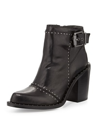 Luxury Rebel Maggie Leather Bootie W Stud Accents Black