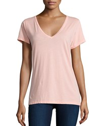 Skin Easy V Neck Cotton Tee Salmon