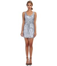 Aidan Mattox Beaded Tank Dress With Diamond Motif Light Blue Women's Dress