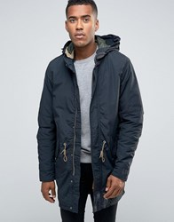 Jack And Jones Vintage Fishtail Parka With Quilted Linning Removable Wire Frame Hood Navy