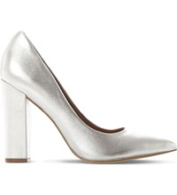 Steve Madden Primpy Metallic Leather Block Heel Shoes Silver Leather