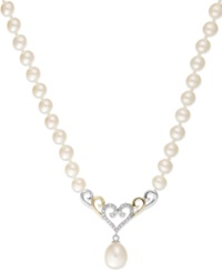 Macy's Cultured Freshwater Pearl 6Mm And Cubic Zirconia 1 4 Ct. Tw. Heart Necklace In Sterling Silver And 14K Gold