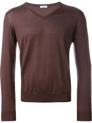 Fashion Clinic V Neck Jumper Pink And Purple