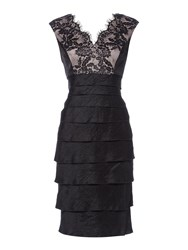 Linea Lace Bodice Shimmer Illusion Dress Black