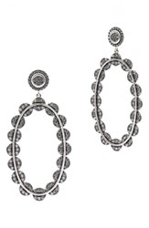Freida Rothman Women's Cubic Zirconia Oval Drop Earrings Black Silver