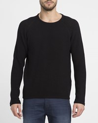 Revolution Black 6261 Slightly Oversized Knit Raglan Round Neck Sweater