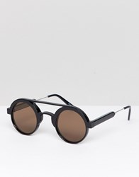 Spitfire Round Sunglasses In Black With Brown Lens Black Brown