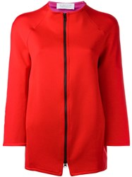 Gianluca Capannolo Zipped Jacket Women Nylon Polyester Acetate Viscose 40 Red