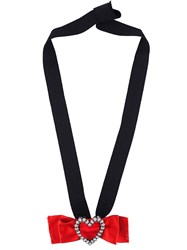Lanvin Crystal Heart On Bow Brooch Or Pendant Red