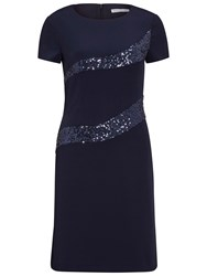 Gina Bacconi Stretch Moss Crepe And Sequin Panel Dress Spring Navy