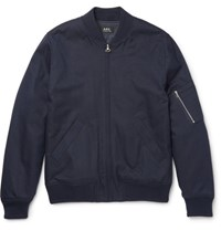 A.P.C. Herringbone Cotton And Wool Blend Bomber Jacket Navy