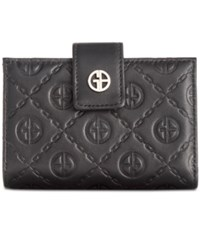 Giani Bernini Logo Embossed Frame Wallet Black Silver
