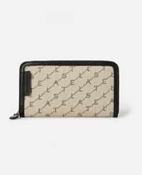 Stella Mccartney Beige Monogram Zip Around Wallet