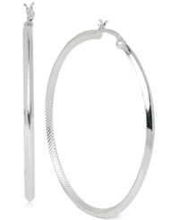 Touch Of Silver Thin Hoop Earrings In Plated Brass Siliver