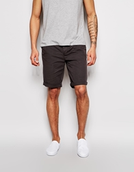 Asos Chino Shorts In Longer Length Washedblack