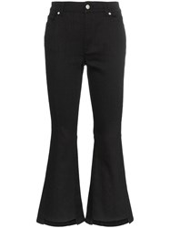 Alexander Mcqueen Mid Rise Kick Flare Cropped Jeans Black