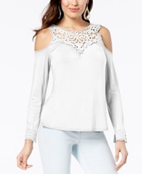 Thalia Sodi Cold Shoulder Crochet Yoke Top Created For Macy's Washed White