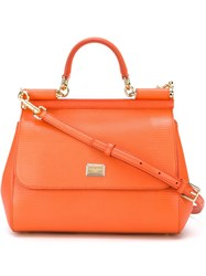 Dolce And Gabbana Small 'Sicily' Tote Yellow And Orange