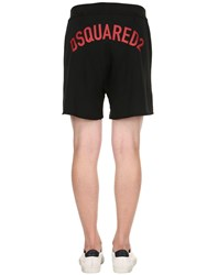 Dsquared Logo Printed Cotton Jersey Shorts Black Red