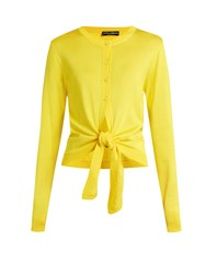 Dolce And Gabbana Tie Front Silk Knit Cardigan Yellow