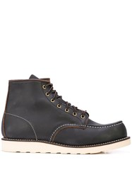 Red Wing Shoes Contrast Stitching Combat Boots Brown