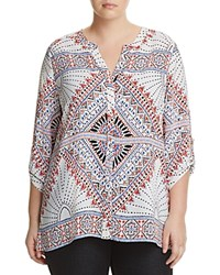 Foxcroft Plus Three Quarter Sleeve Mosaic Print Blouse