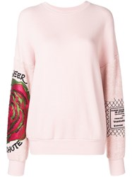 Mr And Mrs Italy Embroidered Floral Sweatshirt Pink And Purple