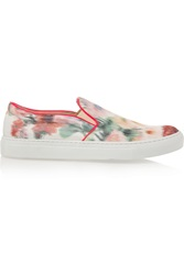 Giambattista Valli Printed Satin Faille Slip On Sneakers