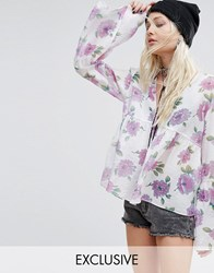 Reclaimed Vintage Smock Top In Floral Chiffon Ivory Multi