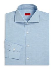 Isaia Heathered Regular Fit Dress Shirt Turquoise Blue Turquoise Green
