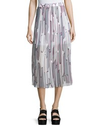 Kenzo Abstract Cactus Pleated Georgette Skirt Steel Gray Steel Grey