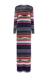 Missoni Multicolored Ribbed Lurex Long Sleeve Dress Black