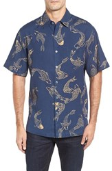 Tori Richard Men's Koi Pond Classic Fit Short Sleeve Sport Shirt Navy
