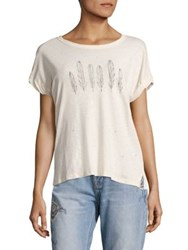 Current Elliott Large Feather Print Tee Dirty White Feathers Graphic