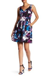 Adrianna Papell V Neck Floral Pleated Dress Regular Petite And Plus Size Purple
