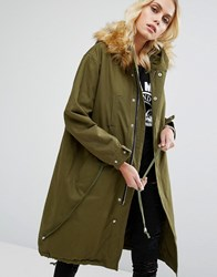 Goldie Game On Parka Jacket With Detachable Faux Fur Hood Green