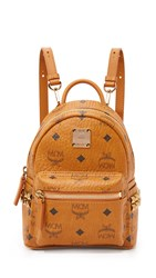 Mcm Side Stud Baby Stark Backpack Cognac